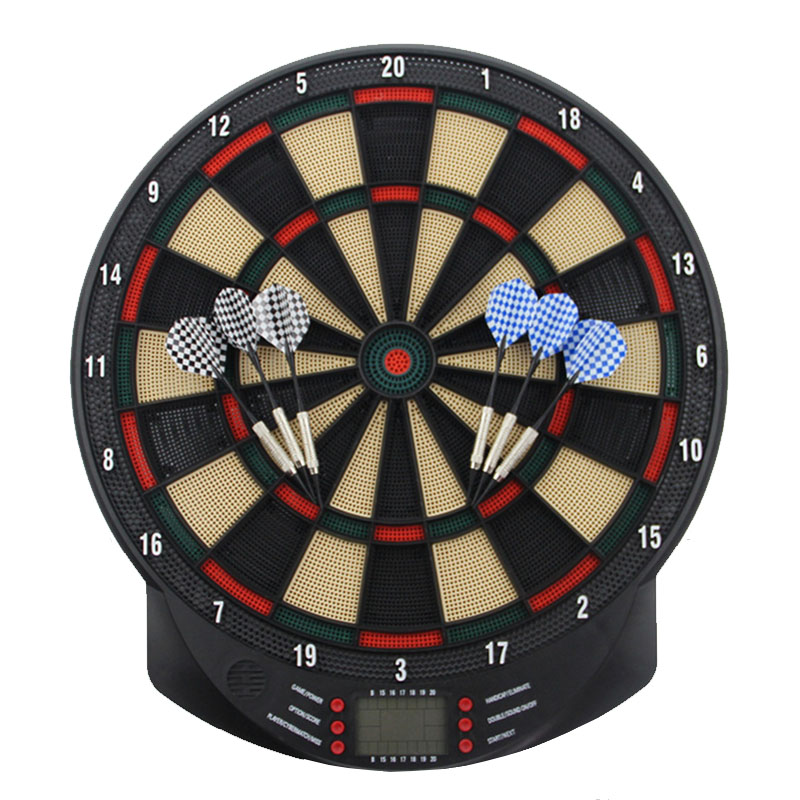 Electronic Darts Board Set Automatic LCD Scoring Display Score Dart Plate Board With Voice 27 Games With 6pcs Soft Darts 15 Inch
