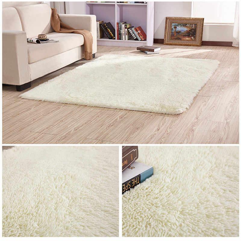 Chống trơn trượt lụa sàn Châu Âu hiện đại hình chữ nhật dài Thảm phòng khách bàn Thảm phòng ngủ giường dày bộ chăn ga