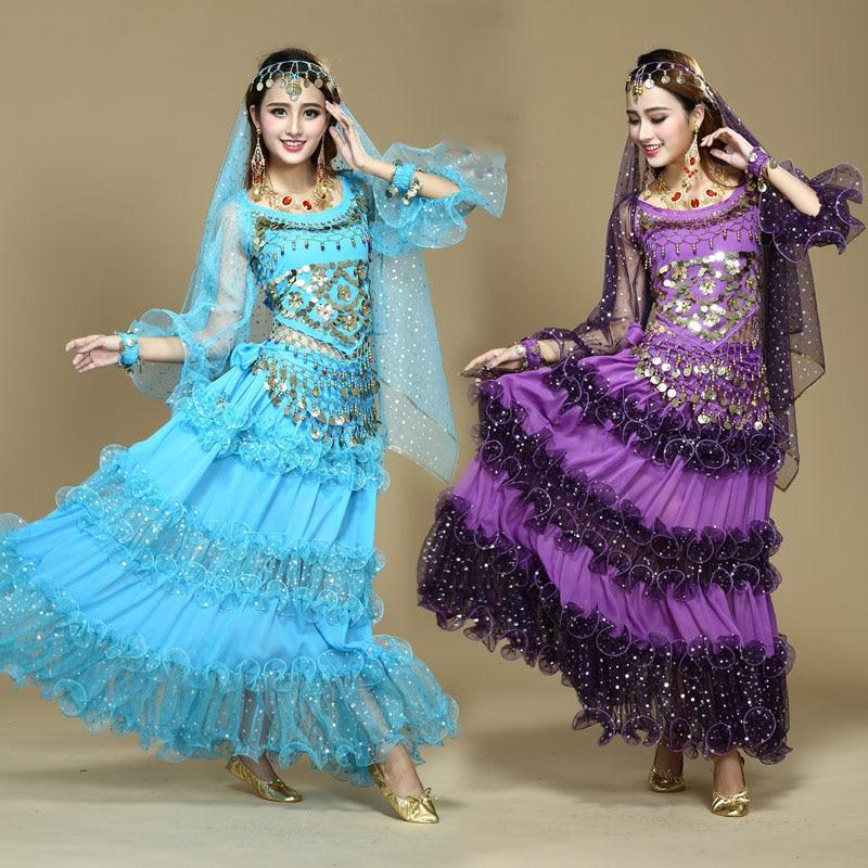 Costumes de danse du ventre femmes indien Bollywood Costume pour la danse 4 pièces gaz poivre haut longue jupe en mousseline de soie danse du ventre vêtements Costumes