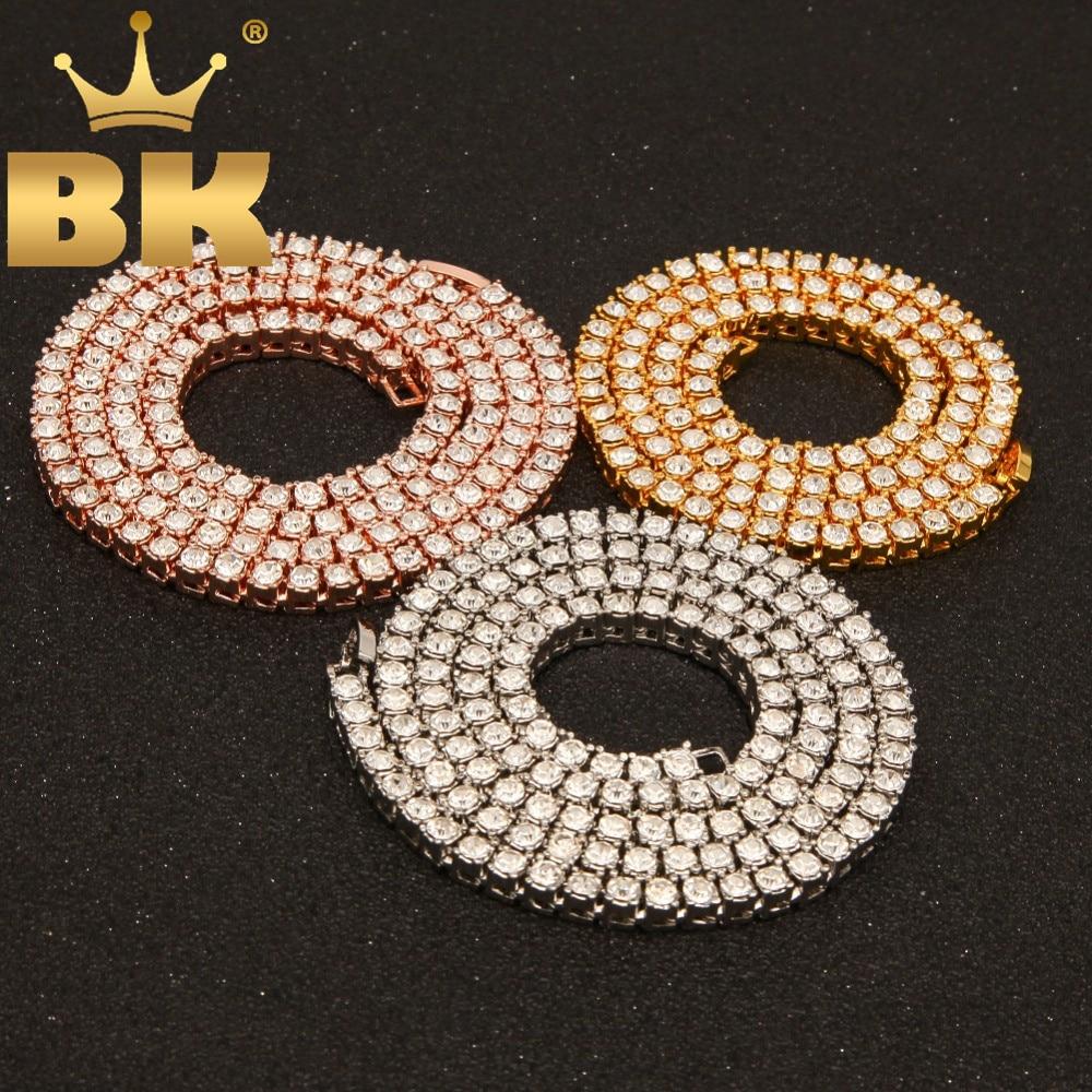 Gargantilla Hiphop collar de diamantes de imitación con destellos para hombre 3mm 4mm 5mm de ancho plata/Negro/ oro rosa/oro 1 Fila cadenas de tenis