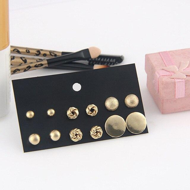 6 pairs/set New Punk Irregular Statement Geometric Metal Round Ball Stud Earrings Set for Women Girl Modern Party Jewelry Gift