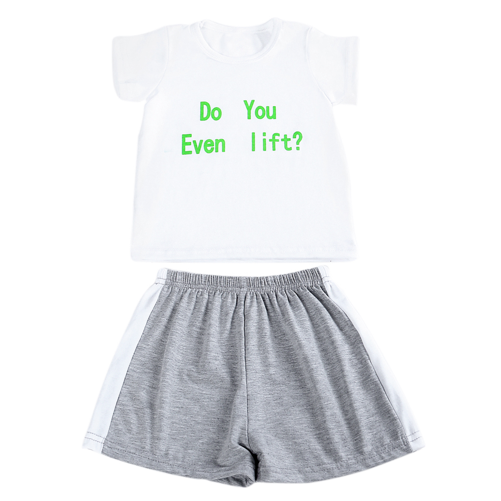 2pcs Newborn Clothes Set White Casual Letter Printed Short Sleeve Tops Shorts Pants Baby Boys Girls Clothing