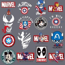 Cartoon Mickey Mouse Superman Dead Men Patches iron on Transfer for Clothing Marvel Venom Thermal Stickers Heat Sticker