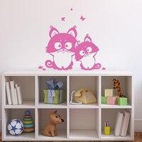 Wand Vinyl Aufkleber Schlafzimmer Kinder Aufkleber Kitty Katze Kindergarten Schmetterling