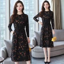 b2c8cfce29 2018 otoño invierno nuevo negro Floral Vintage vestido talla grande Midi  Vestidos coreanos elegantes mujeres fiesta manga larga .