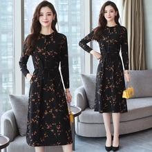 2018 Autumn Winter New Black Floral Vintage Dress Plus Size Midi Dresses Korean Elegant Women Party Long Sleeve Bodycon Vestidos