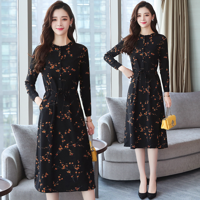 2019 Autumn Winter New Black Floral Vintage Dress Plus Size Midi Dresses Korean Elegant Women Party Long Sleeve Bodycon Vestidos