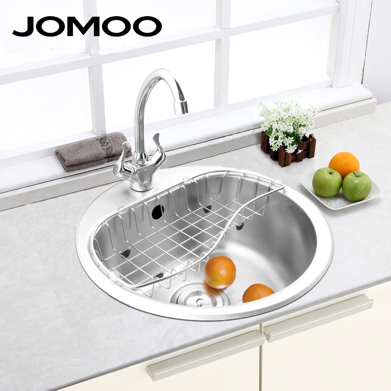 jomoo kitchen sink stainless steel single bowl round shape sink strainer set drain brush finish apron - Round Sinks Kitchen