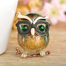 Owl With Glasses Shape Brooch