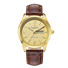 Nuodun Mens Watches Top Brand Luxury Gold Case Quartz Watch Fashion Casual Leather Strap Clock Men Wristwatch Relogio Masculino