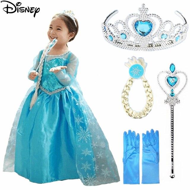 2df98754f2 Disney Mrożone sukienka elsa anna disfraz roszpunka princess sofia sukienek  gorączka elza kostium vestido infantil disfraces