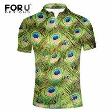 FORUDESIGNS Men Polo Shirts Peacock Pattern Short Sleeve High Quality Peacock feather Polo Shirt Fashion Slim Men's Casual Polos