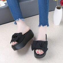 SHIDIWEIKE Big Bowtie Woman Beach Flip Flops Summer Sandals Slip- Resistant Slippers Platform Sandals Size 34-39 B768