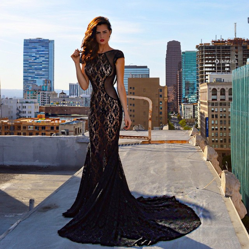 2015 Sexy Cap Sleeve Black Backless Lace Mermaid Prom Dress Vestidos