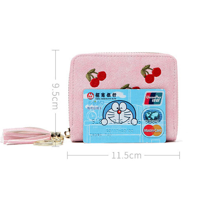 20 Bits Women Cherry Embroidery Card Bag 2017 Sweet Credit ID Business Passport Visiting Card Holder Organizer Card Photo Bags