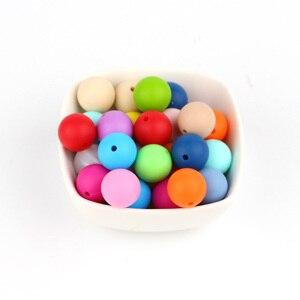 Image 3 - TYRY. HU 100 adet 15mm silikon boncuk DIY kolye yuvarlak boncuk BPA ücretsiz gıda sınıfı bebek dişlikleri bebek diş çıkartma oyuncakları boncuk Charms