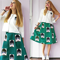 Crop Top and Skirt Set 2 Piece Women 2017 Fashion Three Quarter Single Breasted Cartoon Print Womens Summer Clothes Skirts Sets