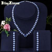BeaQueen Elegant Women Wedding Costume Jewelery Royal Blue Cubic Zircon Long Bridal Earrings Necklace Sets for Brides JS021