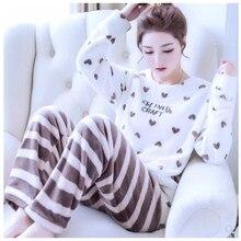 Купить с кэшбэком Autumn Winter Women Pajamas Coral Fleece Sleepwear Warm Bathrobe Nightgowns Kimono Pyjamas Home Clothes Coral Fleece B-5940