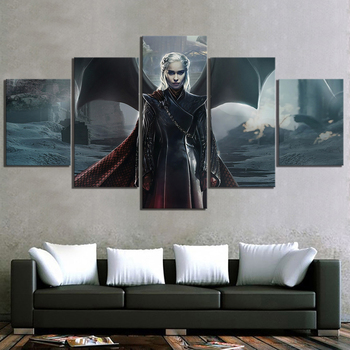 5 Piece Game of Thrones Dragon Queen Daenerys Targaryen Fan Art Canvas Painting HD GOT Movie Poster Paintings for Wall Decor