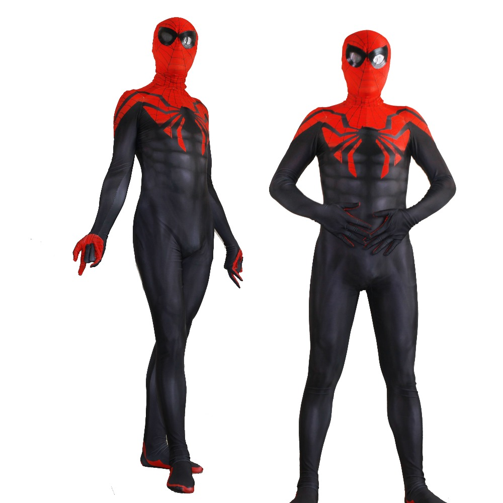 Halloween Spandex Superior spider-man cosplay zentai Costume jumpsuit tights with Eye Lenses for adults/children/kids