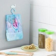 Висячая Сетчатая Сумка-органайзер для хранения с пластиковой вешалкой, Вращающейся на 360 °, экономия пространства для кухни, ванной комнаты и гардероба