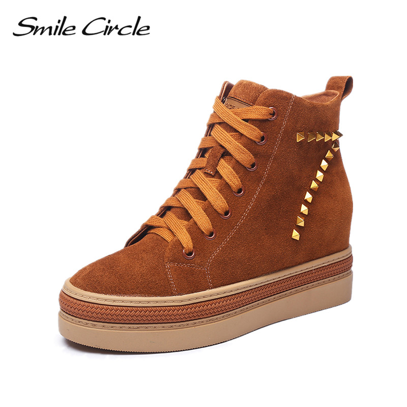 Smile Circle Suede Leather Ankle Boots Women Round Toe Short Shoes Botas Fashion Rivet Warm Plush Winter Platform Wedges Boots women round toe ankle boots woman fashion platform wedge botas ladies brand suede leather high heel shoes footwear size 34 47
