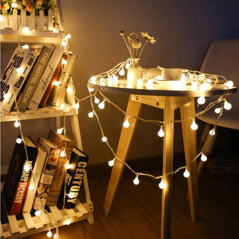 все цены на LED Christmas Light Garland Ball String Xmas Tree Fairy Light Luce Waterproof Home Garden Holiday Decoration led String lights онлайн