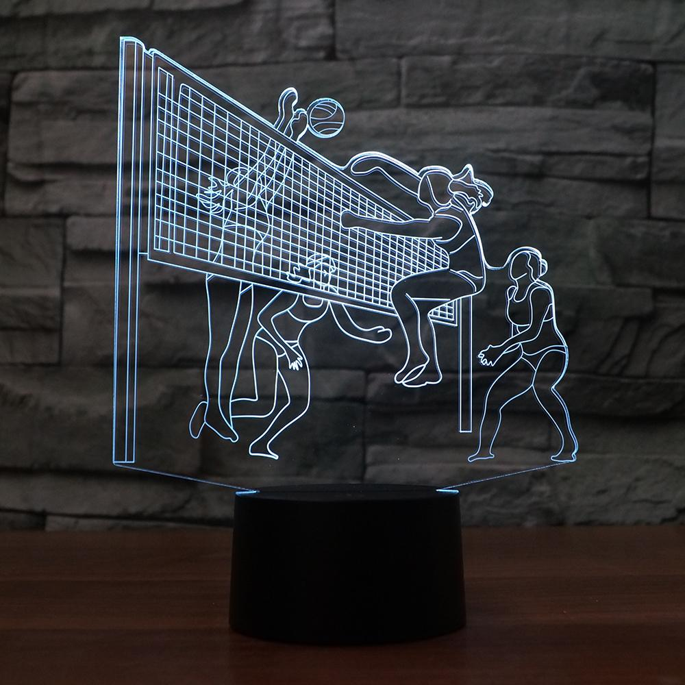 3d Led Play Volleyball Modelling Table Lamp Usb 7 Colors