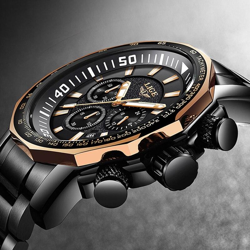 LIGE militar impermeable hombres relojes negocios moda superior reloj de cuarzo hombres deportes Casual reloj de acero completo reloj Masculino + caja