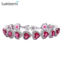LUOTEEMI 6 6 Heart Shape AAA Cubic Zirconia Bridal Wedding Bracelet Bangles for Women White Gold