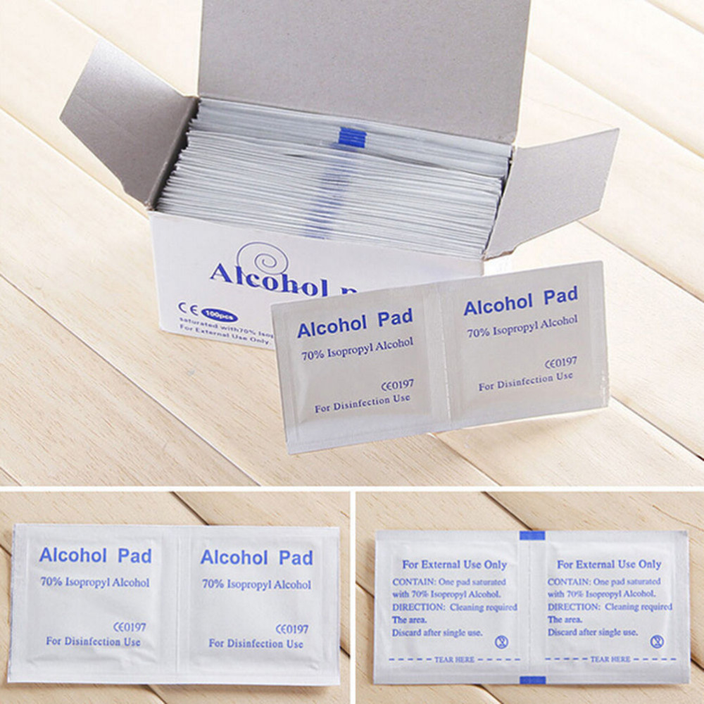 100 Pcs/Box Useful Alcohol Swabs Pads Wipes Portable Skin Cleanser Sterilization 70% Isopropyl First Aid Home  Wet Wipes