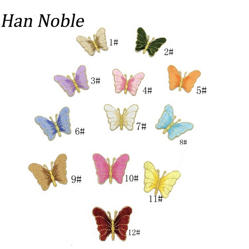 Han Noble Butterfly Patches for Clothes Wedding Decoration Dress Iron on or Sewing Applique Embroidery Diy Supplies P495 10pcs