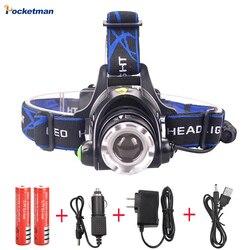 Ру 8000LM XML-L2 XM-L T6 светодиодный налобный фонарь с регулируемым зумом, Водонепроницаемый Головной фонарь на голову фонарь для рыбалки и охоты