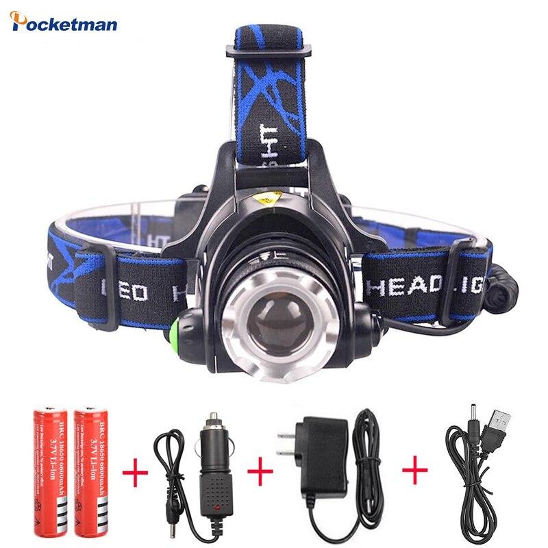 RU 8000LM Testa XML-L2 XM-L T6 Led Zoomable Faro Impermeabile Torcia lampada Testa della torcia elettrica Caccia Pesca Luce