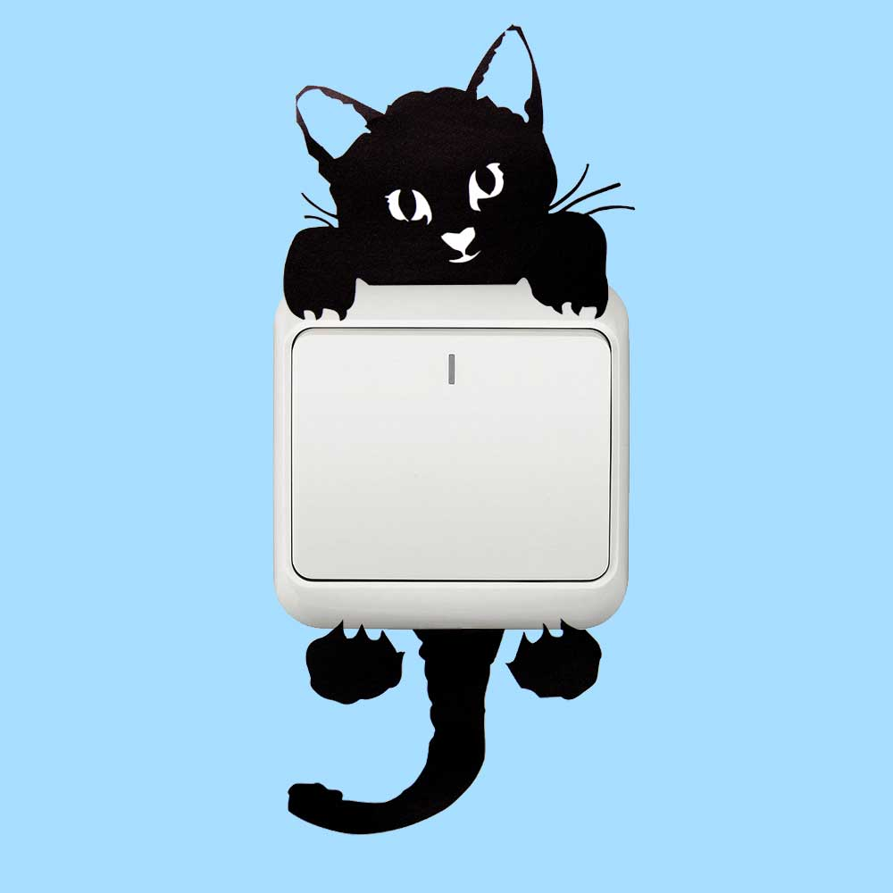 Diy Funny Cute Cat Dog Switch Stickers Wall Stickers Home