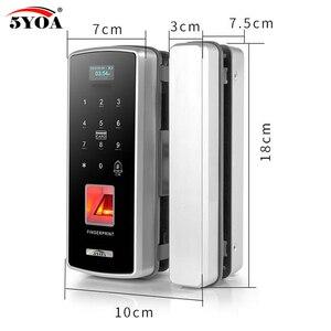 Image 5 - Стеклянный замок со сканером отпечатков пальцев, цифровой электронный дверной замок для дома, Противоугонный Интеллектуальный пароль, RFID карта, автономный смарт Открыватель