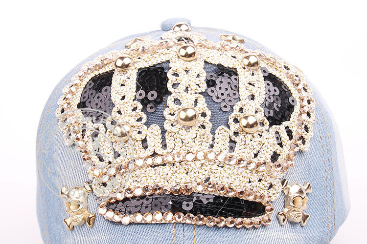 2017 New Cute Crown Baseball Cap Silver Jewel Rhinestone Bling crown Hats  Jeans Wash Denim hat cap for UNISEX MENS WOMENS-in Baseball Caps from  Apparel ... 6fc79d23f014