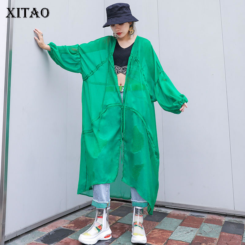 [XITAO] New Women Korea Fashion 2019 Summer Solid Color V-neck Full Sleeve Loose Belt Asymmetrical Length Long   Trench   ZQ1877