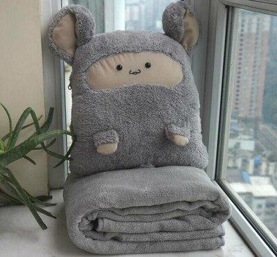 Venda quente bonito travesseiro cochilo carro travesseiro colcha dupla-uso cobertor travesseiro