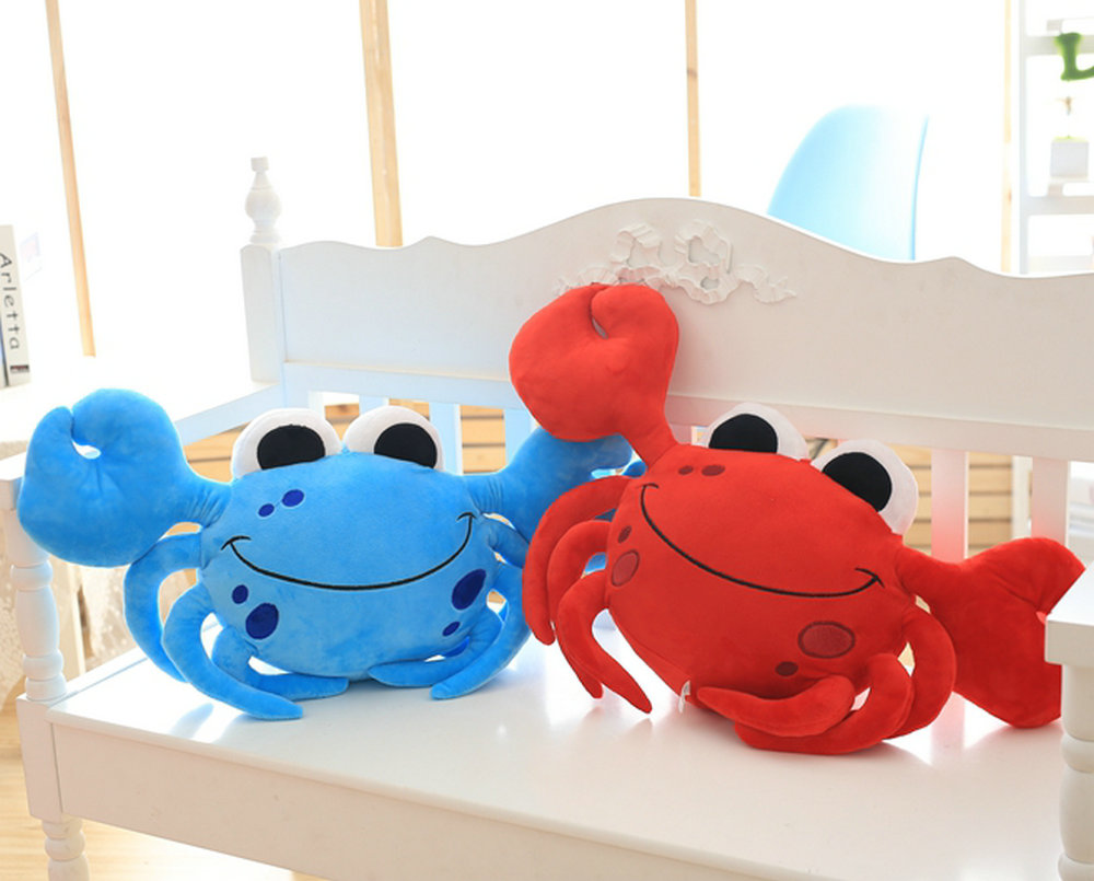 1pc Staffed Cute Crab Plush Pillows Creative Birthday Gift Cartoon Steamed Crab Plush Toys Kids Doll Sofa seafood Cushion