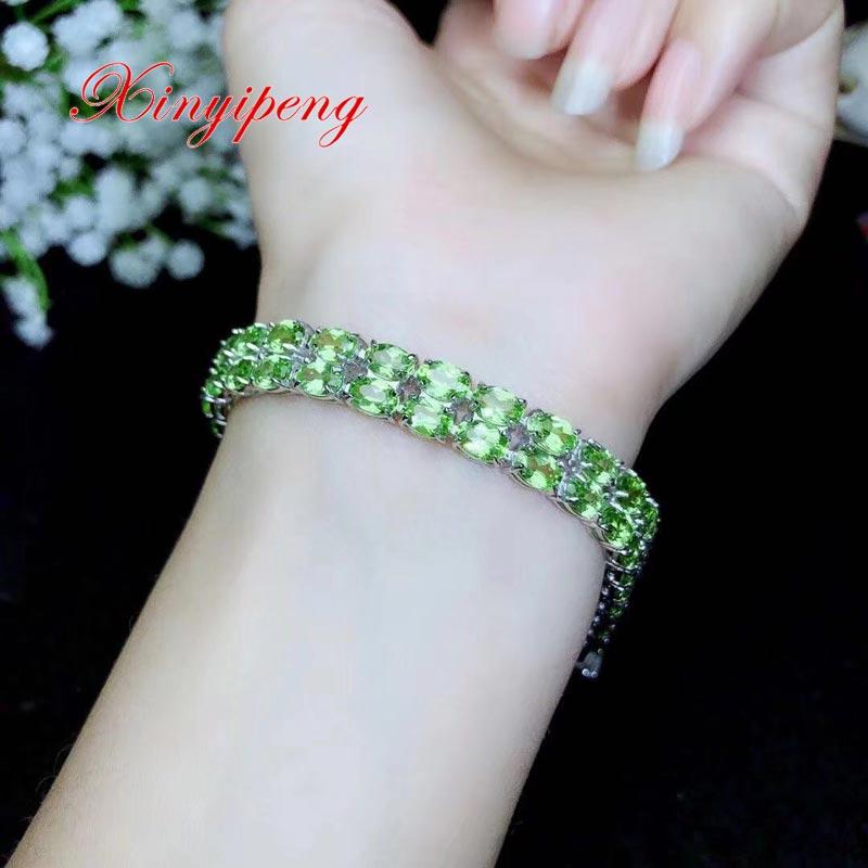 Xin yi peng 925 argent plaqué or blanc incrusté naturel péridot bracelets femmes bracelet fin