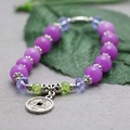Retro Purple Violet Chalcedony Crystal beads natural stones Bracelet hand chain for women girls Ancient coin Pendant Design