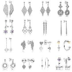 16 стильные серьги-гвоздики с перьями, 925 пробы, серебряные женские модные заклепки, женские серьги с сердечком, хорошее ювелирное изделие