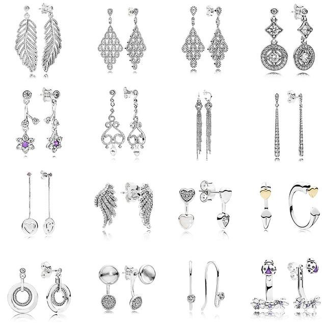 16 Style Feather Studs Earring 925 Sterling Silver Women Fashion Studs  Earring For Women Love Heart Fine Jewelry