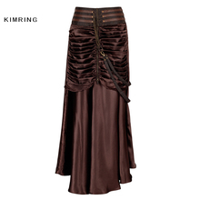Kimring Vintage Steampunk Skirt Victorian Gothic High Waist Skirt for Women Bodycon Long Slim Skirts