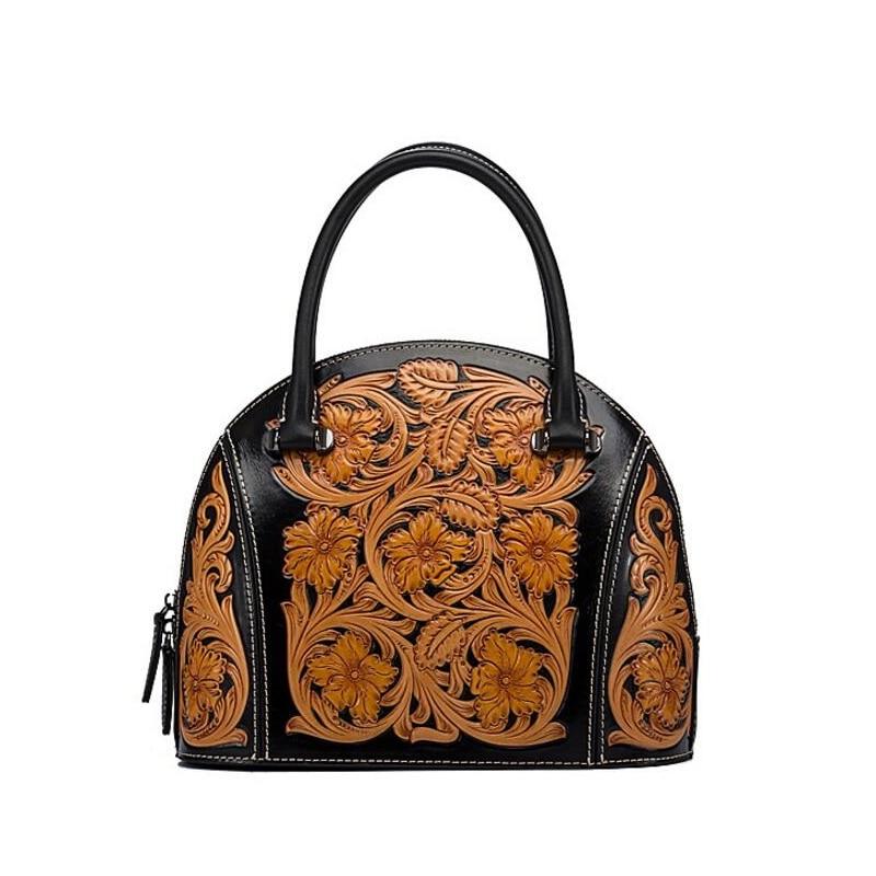 Vintage Engraved Flower Designer Genuine Cowhide Leather Women's Black Purse Floral Top-handle Bag Ladies Handbag Shell Bag belted floral and plaid shell top
