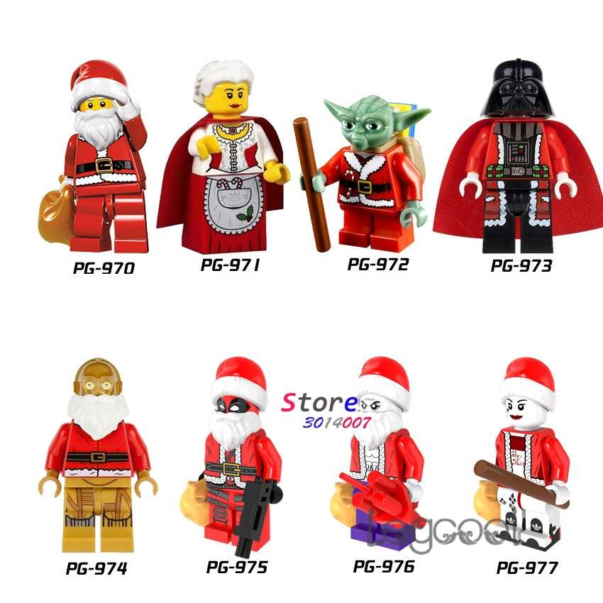 1 Buah Model Blok Bangunan Superhero Natal Santa Nenek Yoda C-3PO Deadpool Joker Harley Quinn Mainan untuk Anak-anak Hadiah