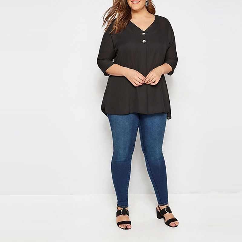 HYH Haoyihui Vintage Grace femmes Blouse 2019 nouvelle mode élégant col en v noir bouton en mousseline de soie Blouse jeune fille bouton chemise