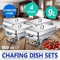 VEVOR Fabbrica 4 pacco di 9L Scaldavivande Set/Buffet Catering Cucina Sala Da Pranzo con Vassoio di Cibo Caldo